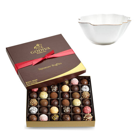 Luxury Gold Bowl with 36pc. Signature Truffle Gift Box