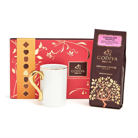 Gold Handle Mug with Truffle Coffee & Biscuits, 32 pc.