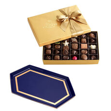 Navy Serving Tray with 36-pc Assorted Chocolate Gold Gift Box