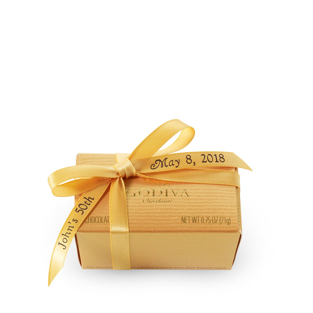 Assorted Chocolate Gold Favor, Personalized Gold Ribbon, 2 pc.