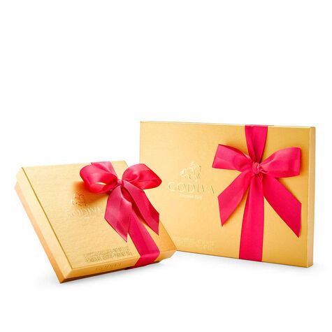 Assorted Chocolate Gold Gift Box Set, Spring Ribbon, 19 & 36 pc.