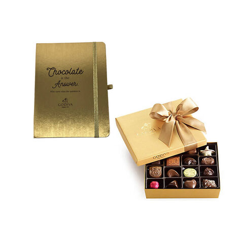 Godiva Gold Journal with Assorted Chocolate Gold Gift Box, 19 pc