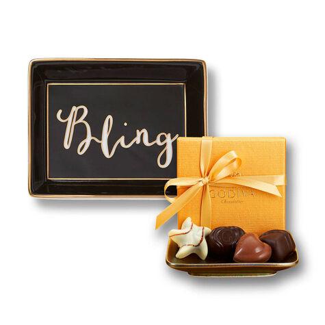 Bling Trinket Tray & 4 pc. Gold Favor