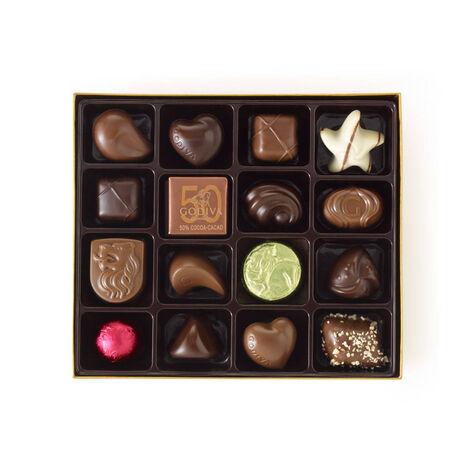 Assorted Chocolate Gold Gift Box, Personalized Aqua Ribbon, 19 pc.
