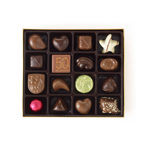 Assorted Chocolate Gold Gift Box, Personalized Hot Pink Ribbon, 19 pc.