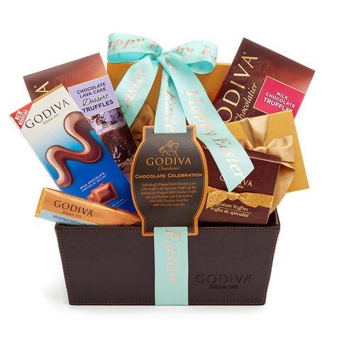 Happy Easter Chocolate Celebration Basket, Aqua Ribbon