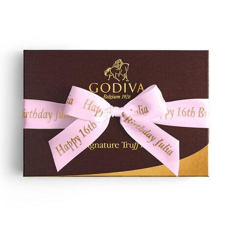 Signature Truffles Gift Box, Personalized Pink Ribbon, 24 pc.