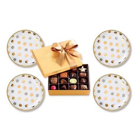 Polka Dot Dessert Plates Set & 19 pc. Classic Gold Ballotin