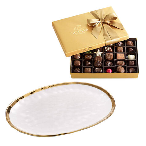 Oval Platter with Assorted Chocolate Gift Box, 36 pc.