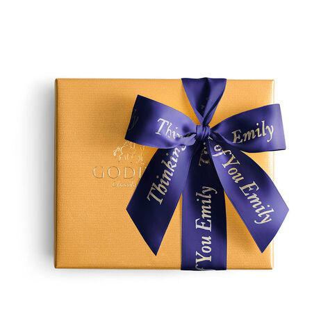 Assorted Chocolate Gold Gift Box, Personalized Purple Ribbon, 19 pc.