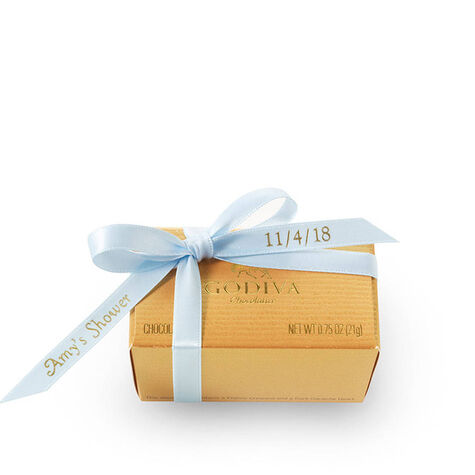 Assorted Chocolate Gold Favor, Personalized Light Blue Ribbon, 2 pc.
