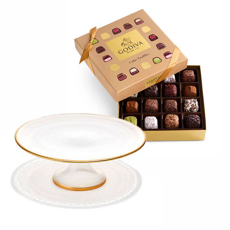 Dessert Pedestal with Cube Truffles Gift Box, 16 pc.