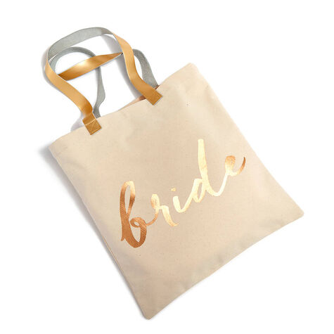 Bride Tote Bag with Assorted Chocolate Gold Gift Box, 8 pc.