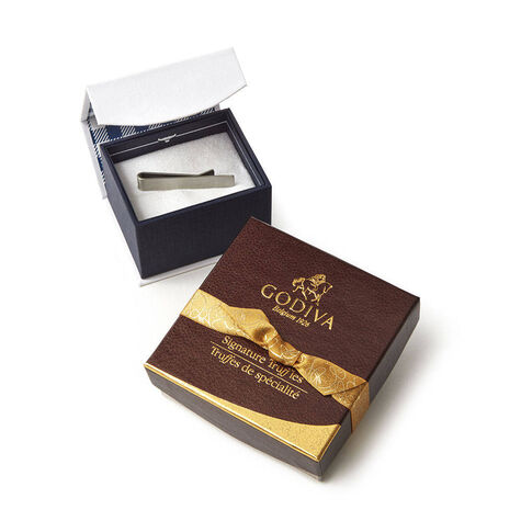 Silver Tie Bar with Signature Chocolate Truffles, 4 pc.