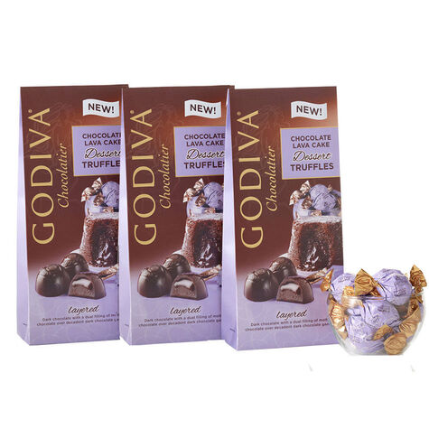 Wrapped Chocolate Lava Cake Dessert Truffles, Large Bags, Set of 3, 19 pc. each