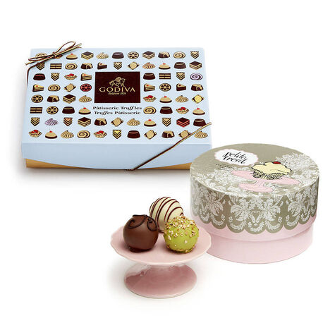 Patisserie Dessert Truffles, 12 pc. and Mini Dessert Pedestal, Pink