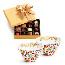 Happy Everything Bowls, Set of 2, with Assorted Chocolate Gold Gift Box, Happy Birthday Ribbon, 19 pc