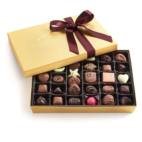 Assorted Chocolate Gold Gift Box, Wine Ribbon, 36 pc.