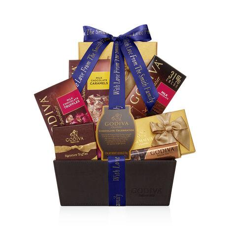 Chocolate Celebration Gift Basket, Personalized Purple Ribbon