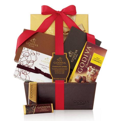 Chocolate Lover's Basket, Burgundy Ribbon