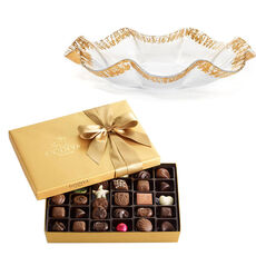 Rufolo Glass Bowl with Assorted Chocolate Gift Box, 36 pc.