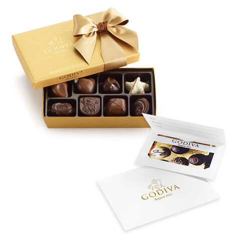 $50 Gift Card & Assorted Chocolate Gold Gift Box, 8 pc.