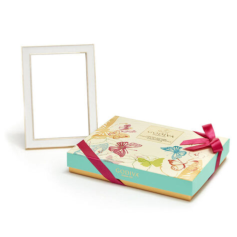White & Gold Enamel Picture Frame, 4x6 & Assorted Chocolate Spring Gift Box, 16 pc.