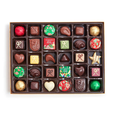 $100 GODIVA Holiday Gift Card & Holiday Assorted Chocolates Gift Box, 32 pc.