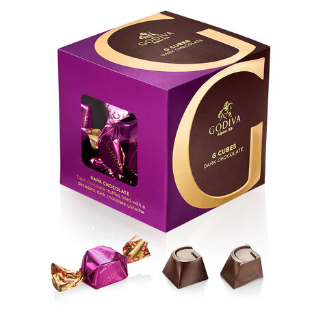 Milk, Dark and Vanilla Chocolate G Cube Boxes, Set of 3, 22 pcs. each