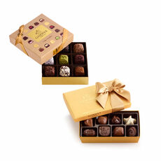 Cube Truffles Gift Box, 9 pc. & Assorted Chocolate Gold Gift Box, 8 pc.
