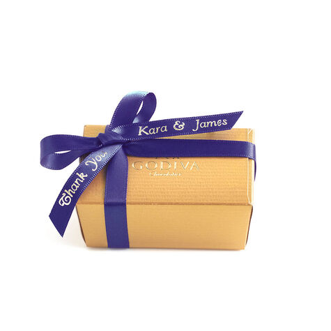 Assorted Chocolate Gold Favor, Personalized Purple Ribbon, 2 pc.