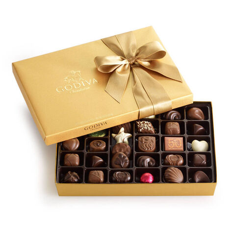 Gold Serving Bowl with Assorted Chocolate Gold Gift Box, Classic Ribbon, 36 pc.