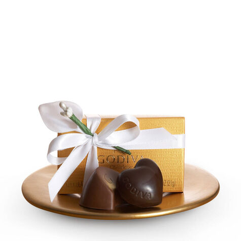 Assorted Chocolate Gold Favor, White Ribbon & Flower, 2 pc.