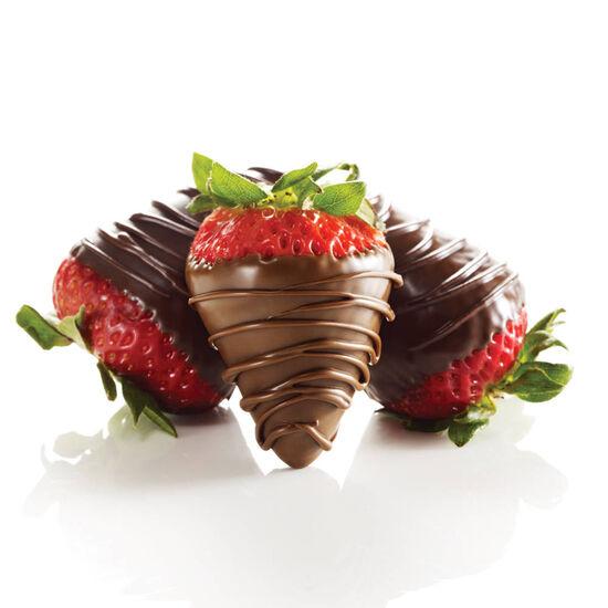 Milk and Dark Chocolate Dipped Strawberries, One Dozen image number null