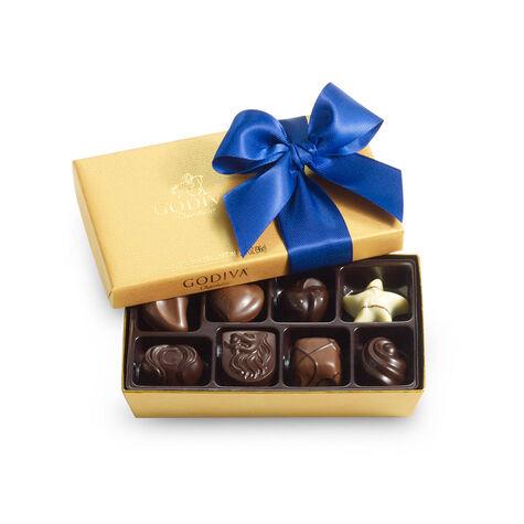Assorted Chocolate Gold Gift Box, Hanukkah Ribbon, 8 pc.