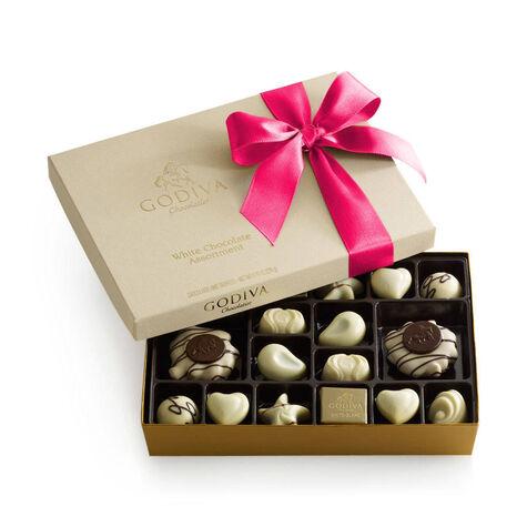 White Chocolate Gift Box, Hot Pink Ribbon, 24 pc.