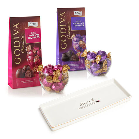 Pencil It In Tray with Wrapped Milk & Dark Chocolate Truffles, Small Bags, 12 pc. each