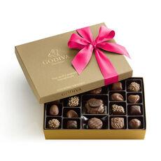 Chocolate Nut and Caramel Gift Box, Hot Pink Ribbon, 19 pc.