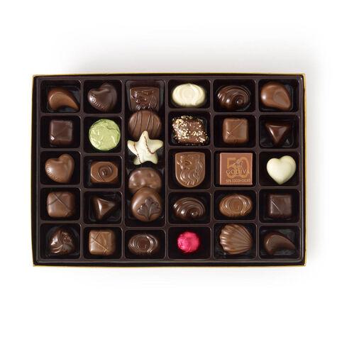 Assorted Chocolate Gold Gift Box, Personalized Aqua Ribbon, 36 pc.