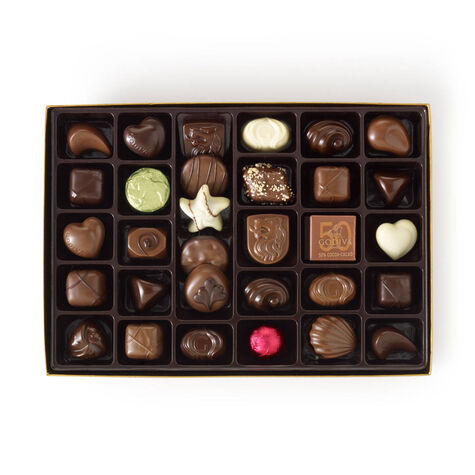 Assorted Chocolate Gold Gift Box, Personalized Aqua Ribbon, 70 pc.