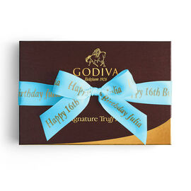 Signature Truffles Gift Box, Personalized Sea Blue Ribbon, 24 pc.