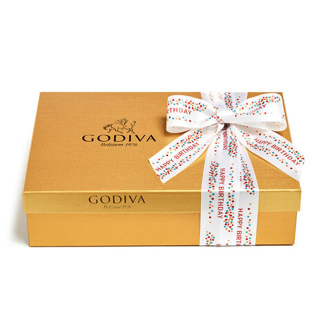 Assorted Chocolate Gold Gift Box, Happy Birthday Ribbon, 70 pc.