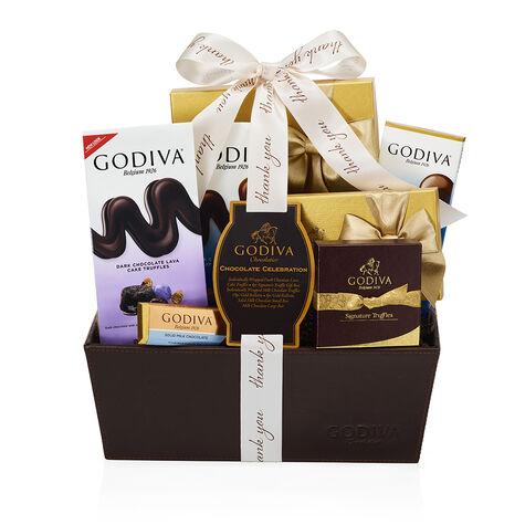 Chocolate Celebration Gift Basket, Thank You Ribbon