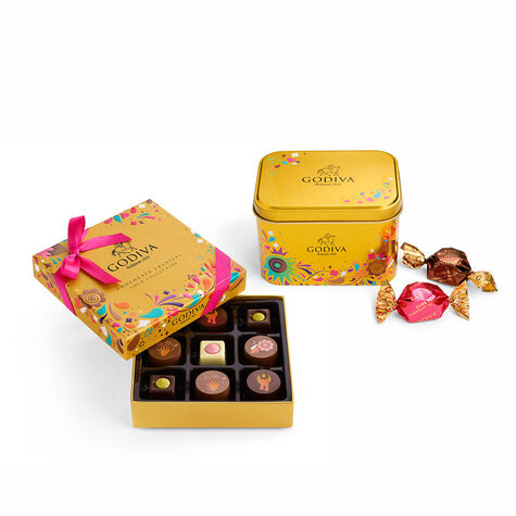 Chocolate Festival Assorted G Cube Tin, 15 pc & Chocolate Festival Gift Box, 9 pc.
