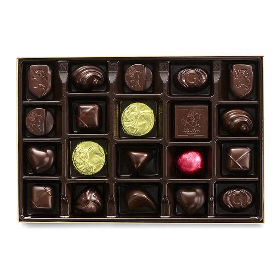 Dark Chocolate Gift Box, Gold Ribbon, 22 pc. image number null