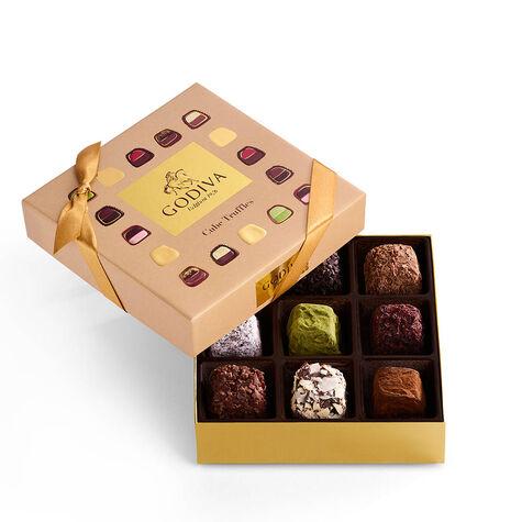 Cube Truffles Gift Box, 9 pc. & Assorted Chocolate Gold Gift Box, 8 pc.