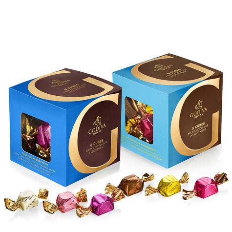 Milk and Dark Chocolate Assortment G Cube Box, Set of 2, 22 pcs. each