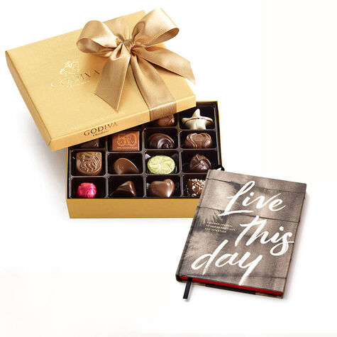 Live This Day Journal and Gold Chocolate Gift Box, 19 pc.