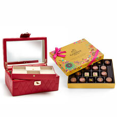 Red Caroline Jewelry Case with Chocolate Festival Gold Gift Box, 18 pc.