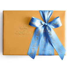 Assorted Gold Gift Box, Personalized Royal Blue Ribbon, 70 pc.
